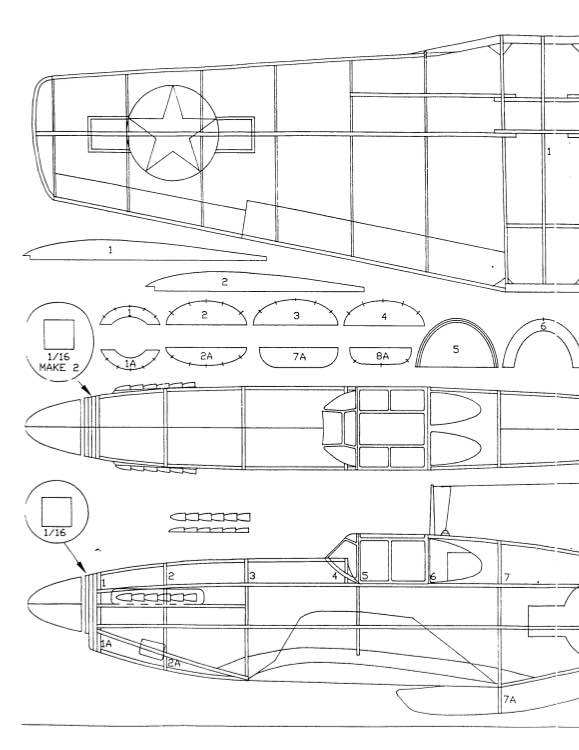 P-51B model airplane plan