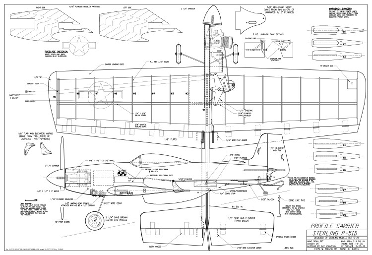 P 51 mustang carrier sterling plans aerofred download for Plan 51