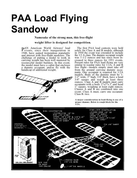 PAA-Sandow model airplane plan