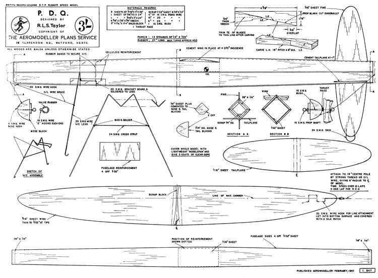 PDQ model airplane plan