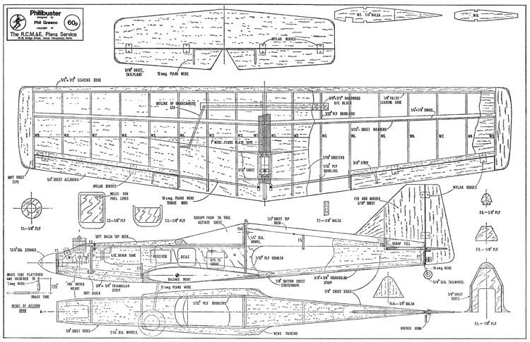 Philibuster 42in model airplane plan