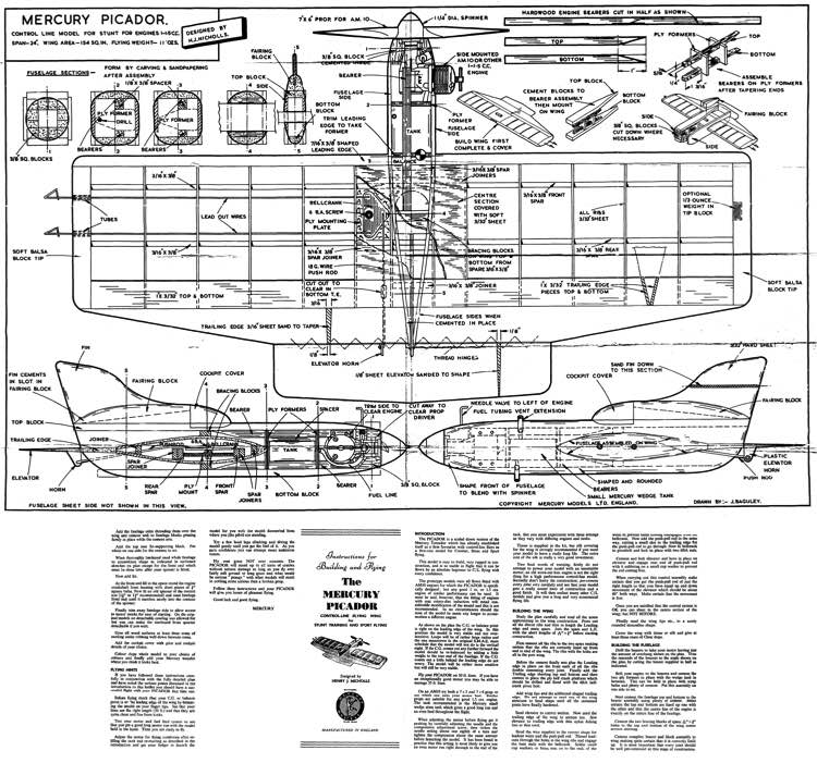 Picador mercury model airplane plan