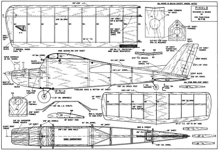 Pikolo 49in model airplane plan
