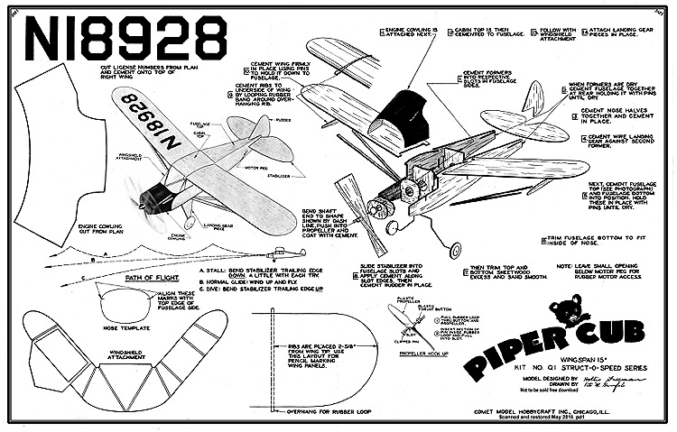 Piper Cub Struct-O-Speed model airplane plan