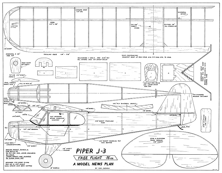 Piper J3 CubAeroFred - Free Model Airplane Plans