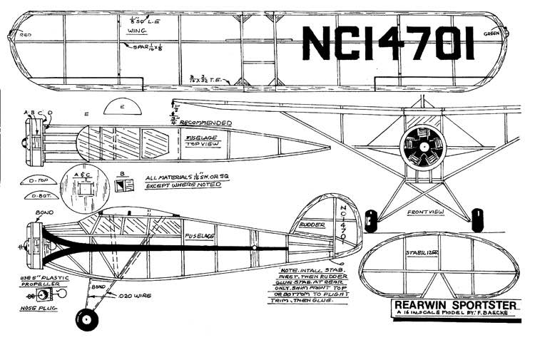 Rearwin Sportster model airplane plan