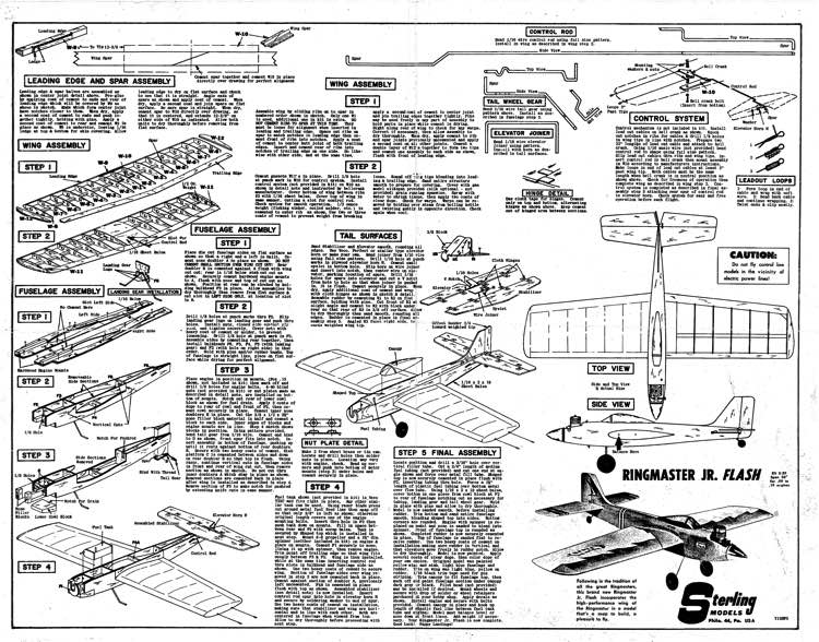 Ringmaster Jr Flash kit S-29 model airplane plan