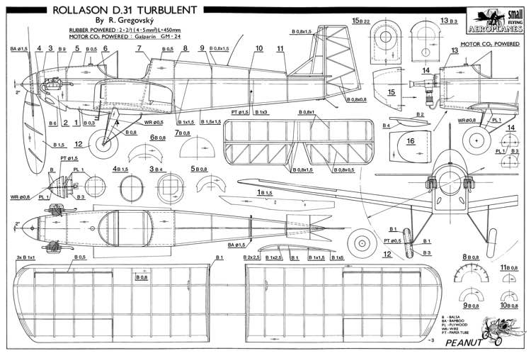 Rollason D-31 Turbulent 13in model airplane plan