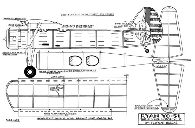 Ryan YO-51 model airplane plan