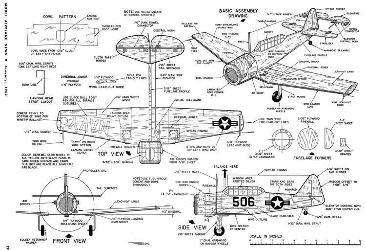 SNJ Profile-MAN-01-62 model airplane plan