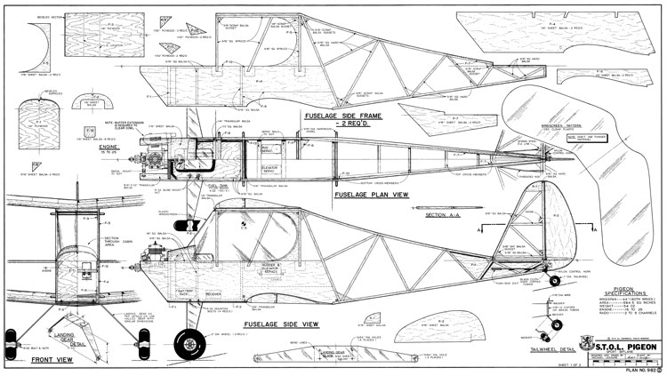STOL Pigeon-RCM-12-86 982 model airplane plan