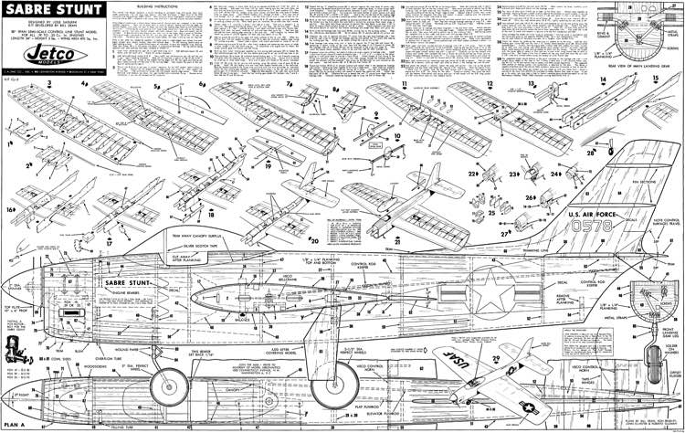 Sabre Stunt 2 pages model airplane plan
