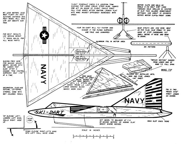 Sea Dart-American Modeler-11-57 model airplane plan