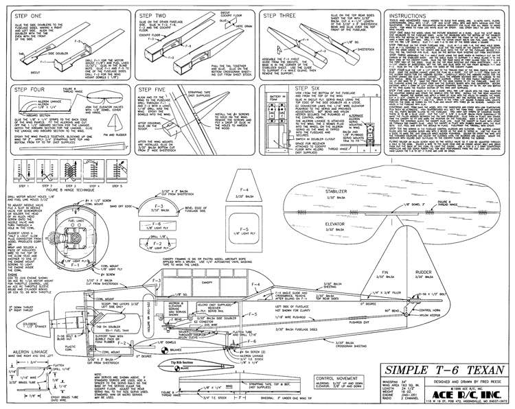Simple T6 Texan Ace model airplane plan