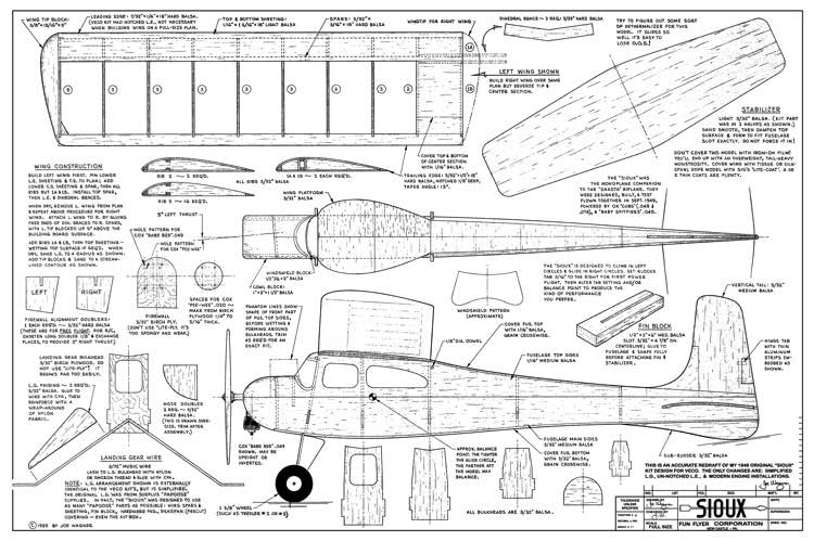 Sioux model airplane plan