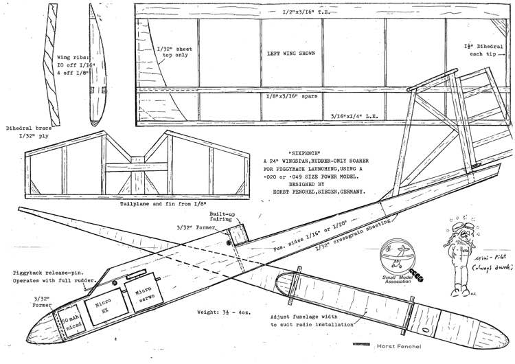 Sixpence Mk 1 model airplane plan