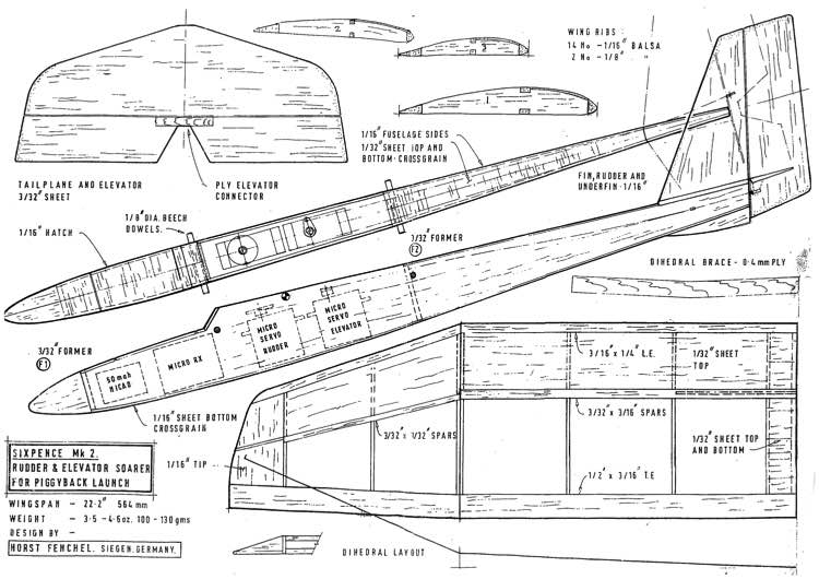 Sixpence Mk 2 model airplane plan