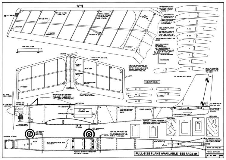 Skyphonic 40in model airplane plan