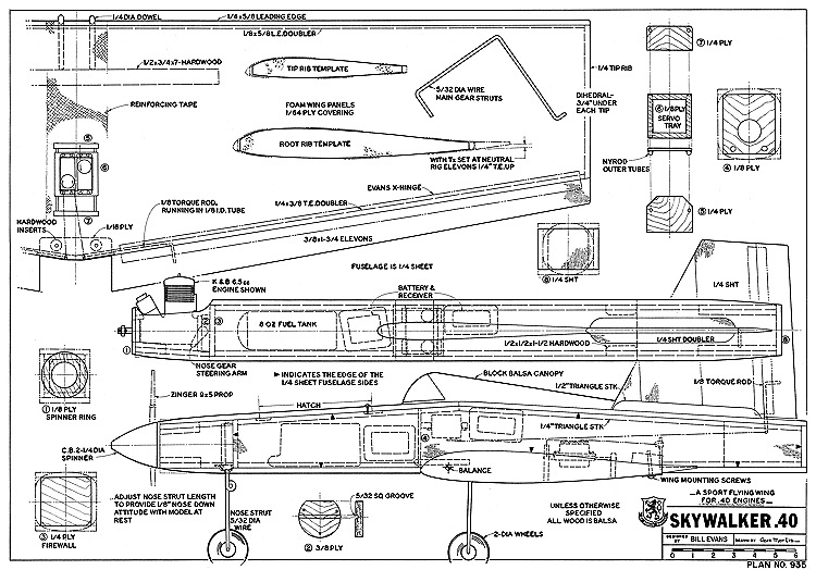 Skywalker 40 RCM-935 model airplane plan