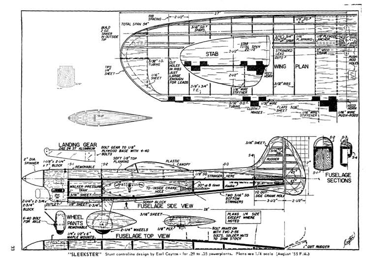 Sleekster model airplane plan