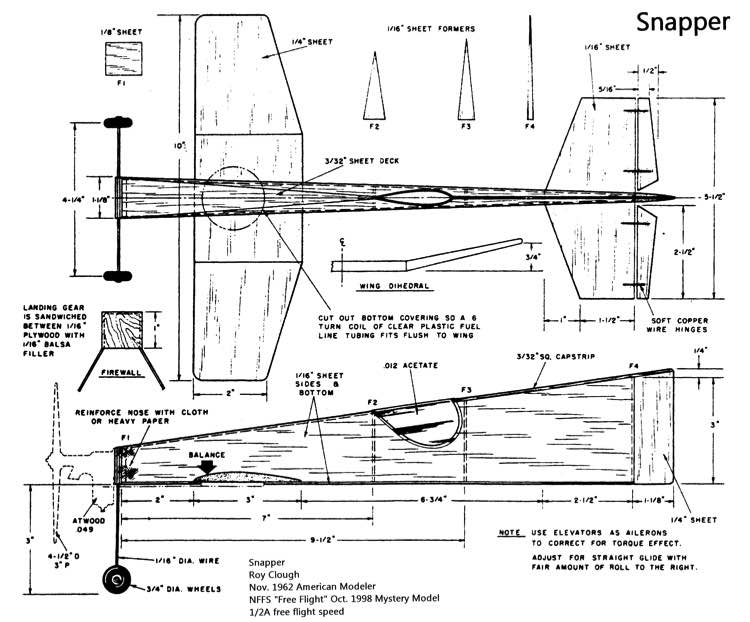 Snapper model airplane plan