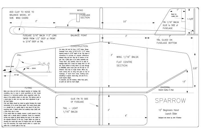 Sparrow model airplane plan