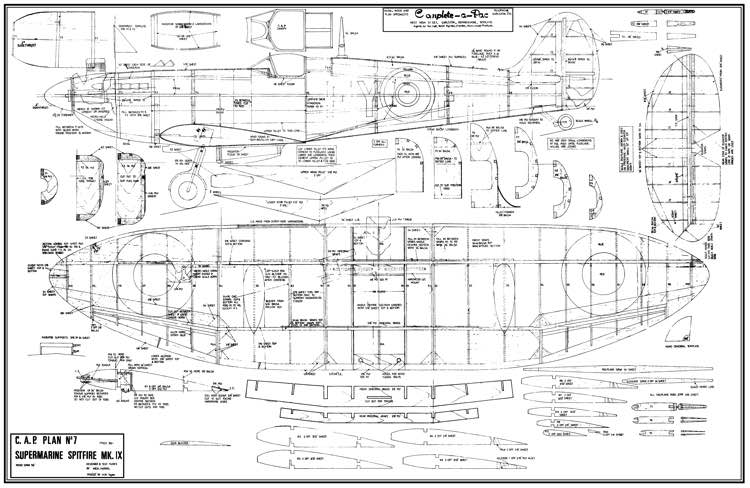 Spitfire Mk IX 56in CAP model airplane plan