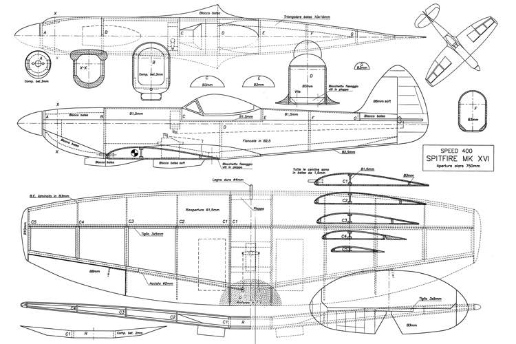 Spitfire Mk XVI 30in model airplane plan