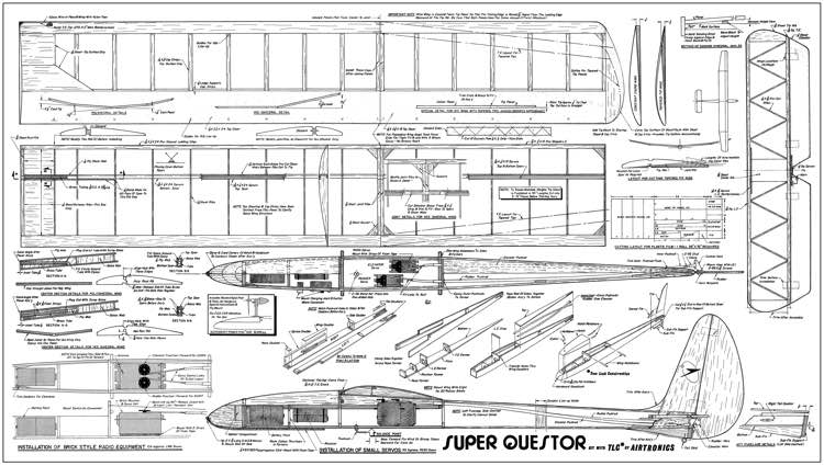 Super Questor Airtronics 80in model airplane plan