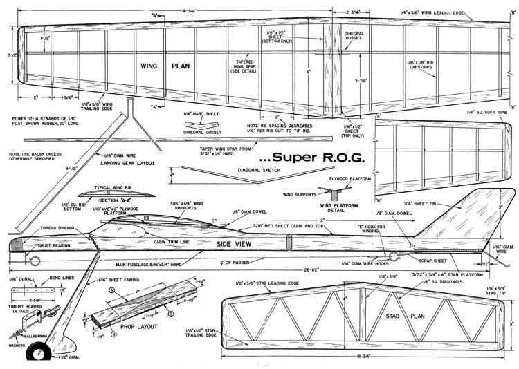 Super ROG model airplane plan