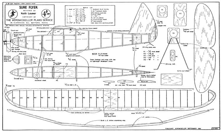 Sure Flyer model airplane plan