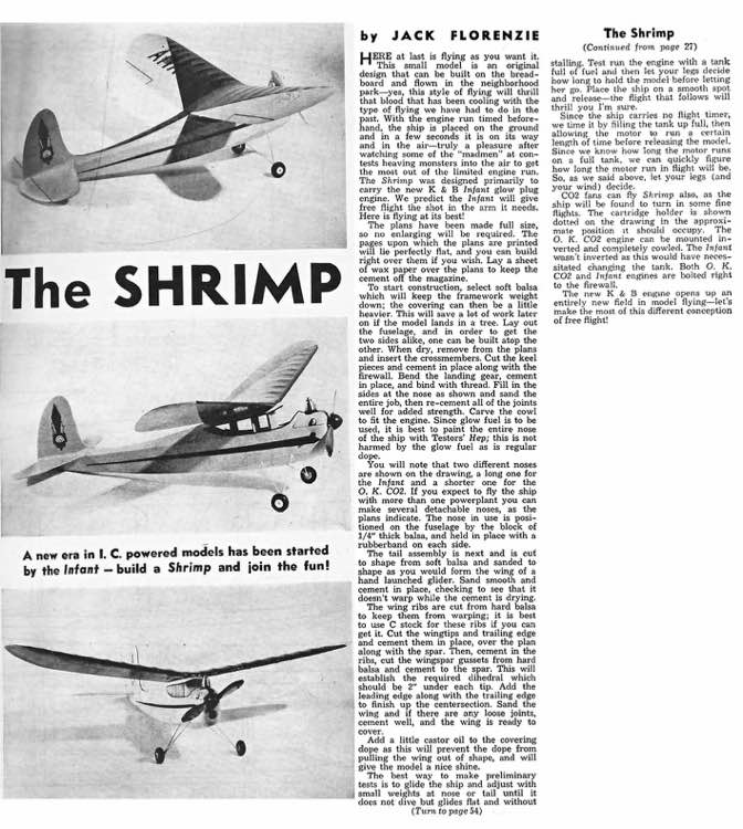 The Shrimp model airplane plan