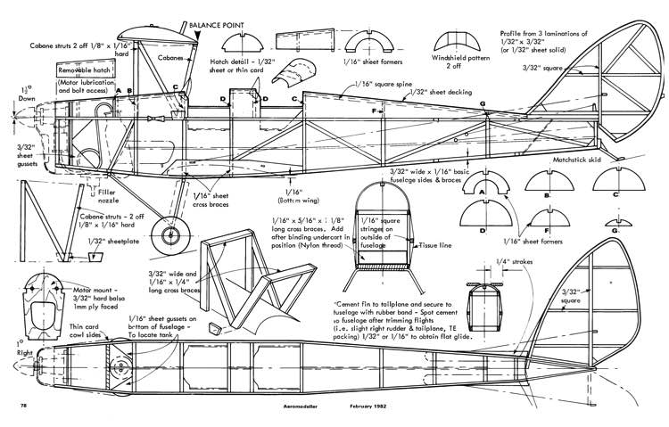 TigerMoth co2 model airplane plan