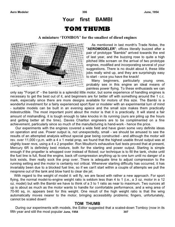 TomThumb model airplane plan