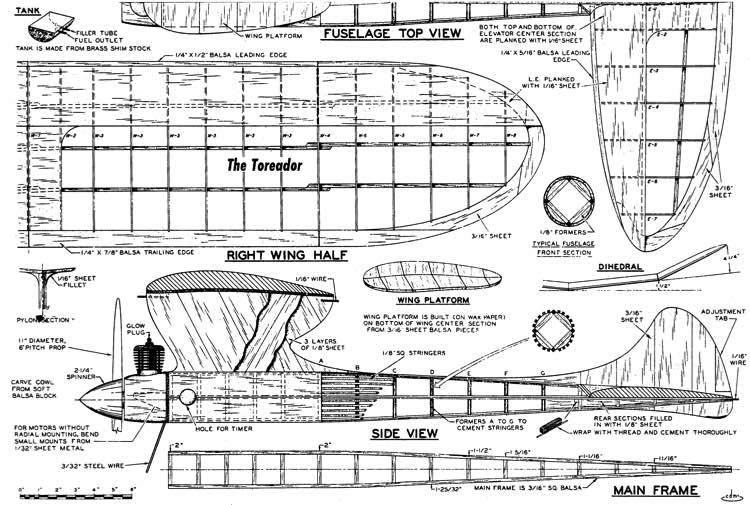 Toreador 55in model airplane plan