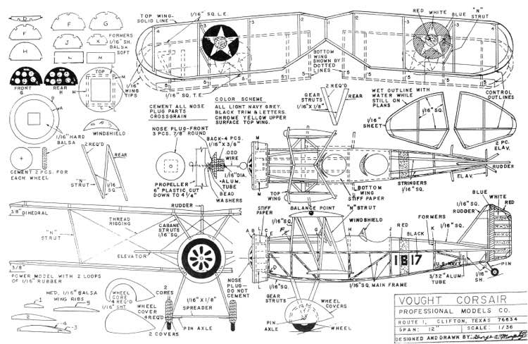 Vought Corsair 12in model airplane plan