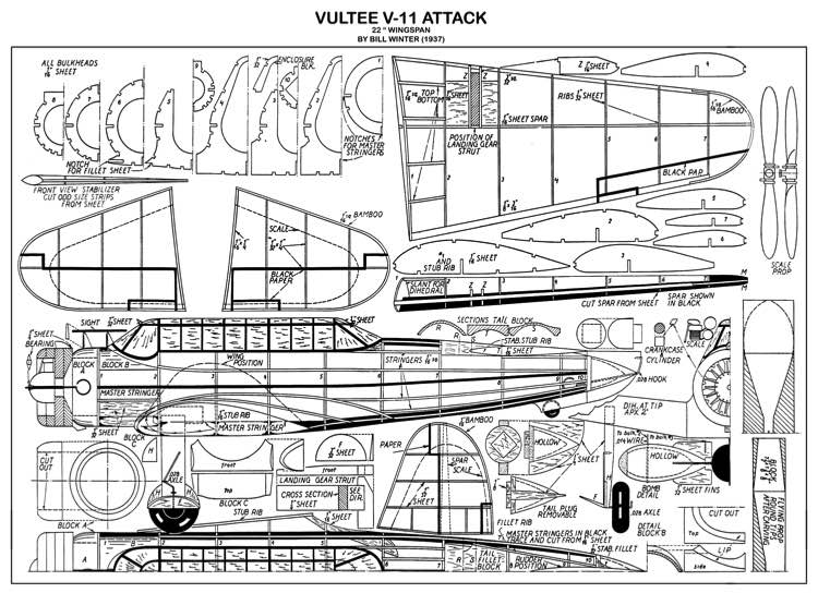Vultee Attack model airplane plan