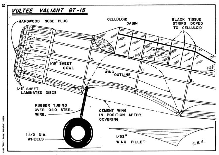 Vultee Valiant p1 model airplane plan