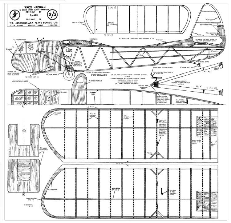Waco CG-4a 50in model airplane plan