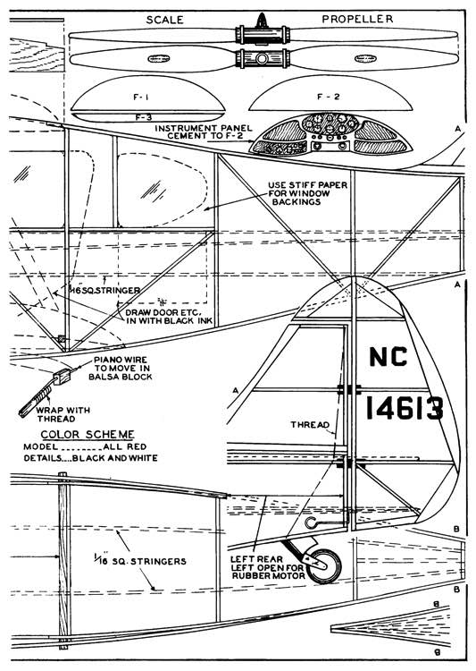 Waco Cabin p2 model airplane plan