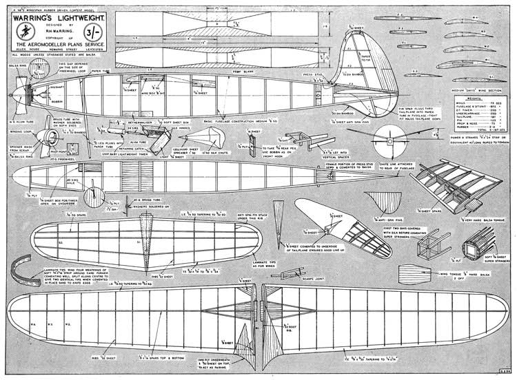 Warring Lightweight 1948 model airplane plan