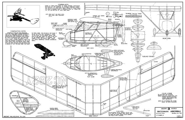 Waterman Arrowbile Megow 30in model airplane plan