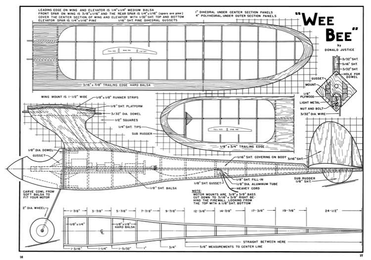 Wee Bee model airplane plan