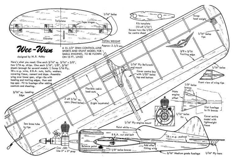 Wee Wun model airplane plan