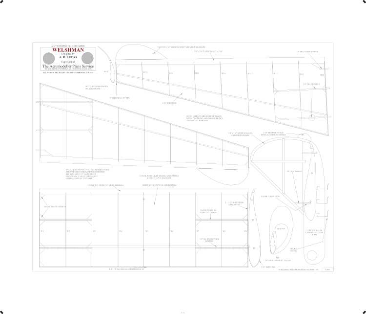 Welshman Print BW model airplane plan