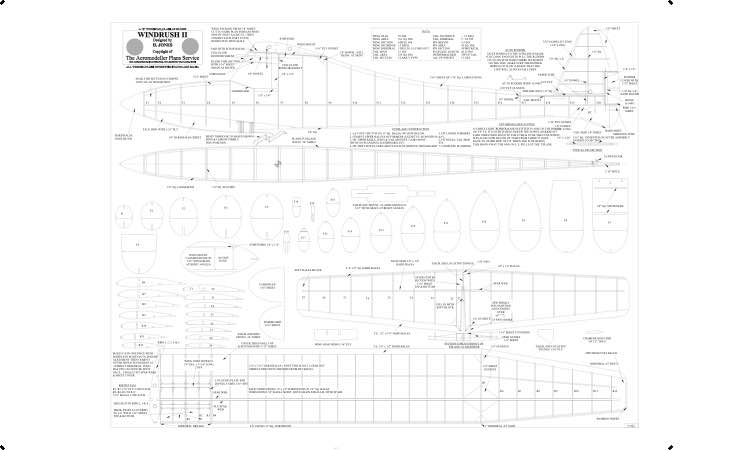 Windrush Print BW model airplane plan