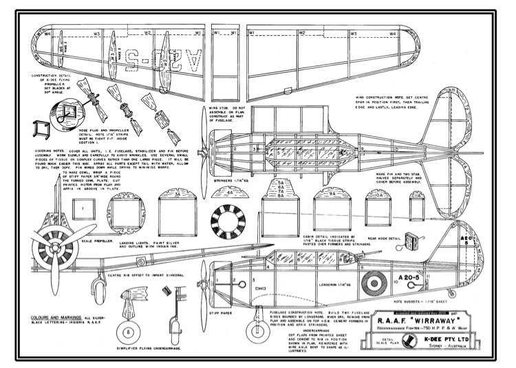 Wirraway model airplane plan