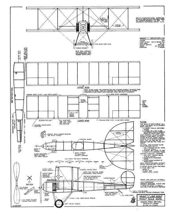 Wright L model airplane plan