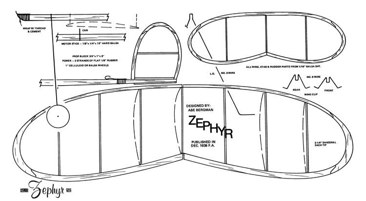 Zephyr model airplane plan