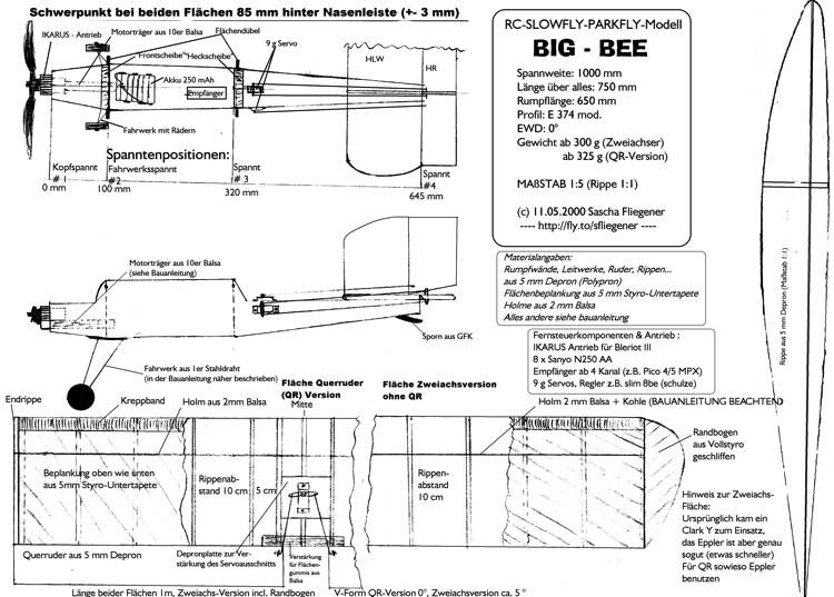 big bee plan model airplane plan